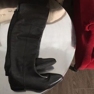 Dolce Vita black leather flat over knee boots